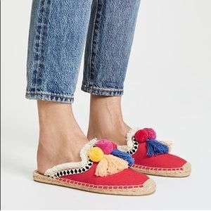 Soludos Anthropologie red Coco Pom Mule size 9